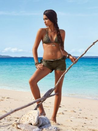 Costume Triangolo e shorts verde militare Calzedonia Estate 2013