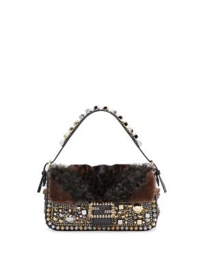 Fendi autunno inverno 2014 2015 Black Embellished Fur Baguette Bag