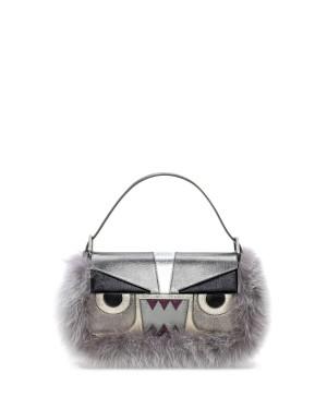 Fendi autunno inverno 2014 2015 Gray Metallic Fur Monster Baguette Bag
