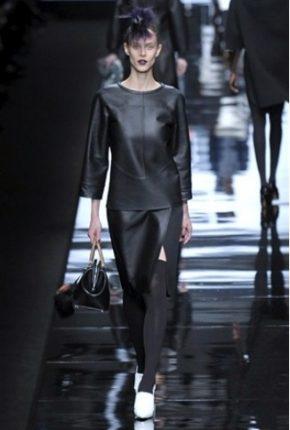 Fendi collezione autunno inverno 2013 2014 vestiti pelle nera
