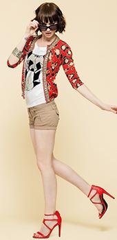 Giacca rossa con stampa animalieur Artigli primavera estate