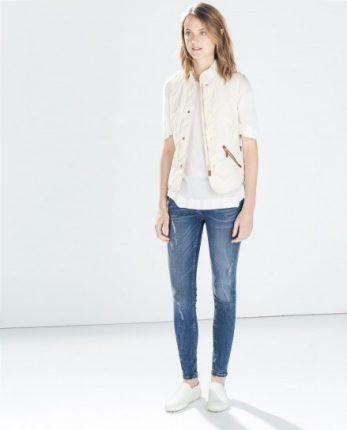 Gilet bianco e jeans Zara autunno inverno 2014 2015