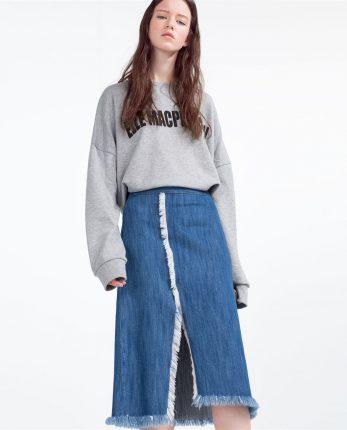 Gonna jeans con spacco Zara primavera estate