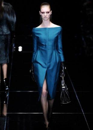 Gucci collezione autunno inverno 2013 2014 abitino blu petroglio