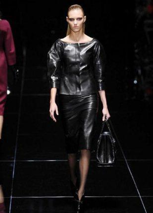 Gucci collezione autunno inverno 2013 2014 gonna e giacchino pelle