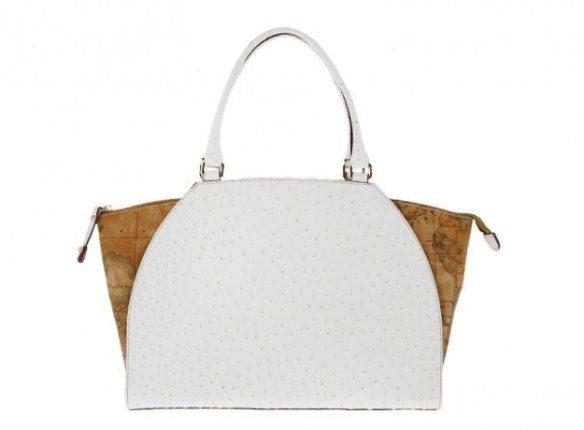 Handbag con stampa struzzo bianca Alviero Martini 1a classe
