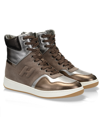 High-Top sneaker in pelle metallizzata Hogan autunno inverno