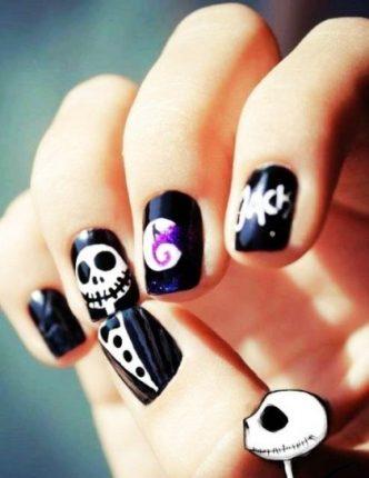 Jack Skeletron nail art