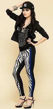 Leggings zebrati neri e blu Artigli primavera estate