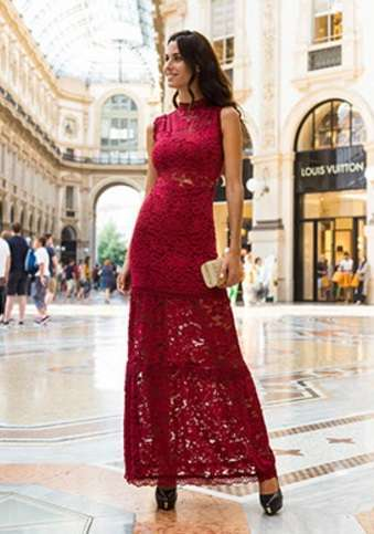Long dress in pizzo Nadine autunno inverno 2017