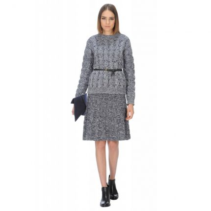 Maglia girocollo trecce in lana cashmere Stefanel autunno inverno 2015