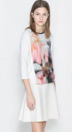 Maglietta bianca stampata Zara primavera estate 2014