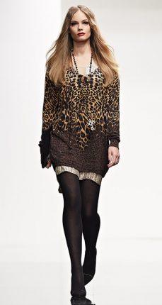 Maxi maglia animalier Twin Set autunno inverno 2015