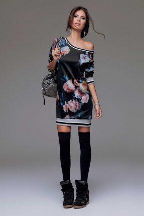 Mini abito monospalla fiori Denny Rose autunno inverno 2015