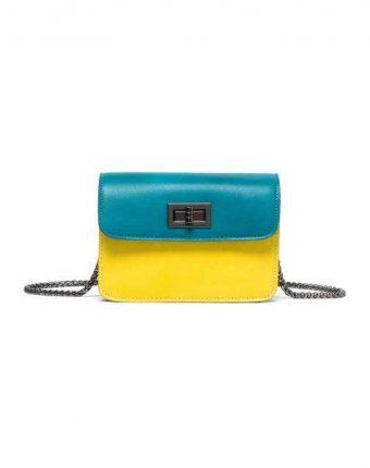 Mini bag a tracolla color block gialla e turchese Benetton borse autunno inverno 2017
