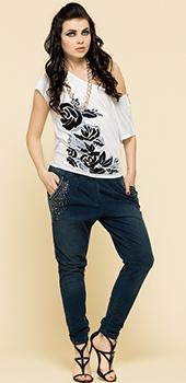 Monospalla bianco con rose nere Artigli primavera estate
