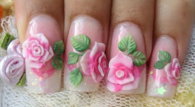 Nail art 3D rose