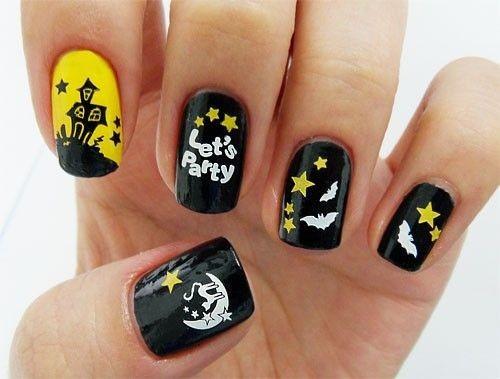 Nail art con pipistrelli e stelle