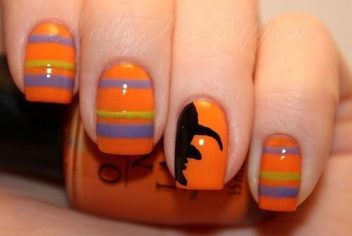 Nail art con profilo di strega unghie Halloween