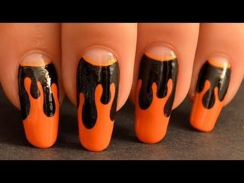 Nail art di Halloween arancio e nero unghie Halloween