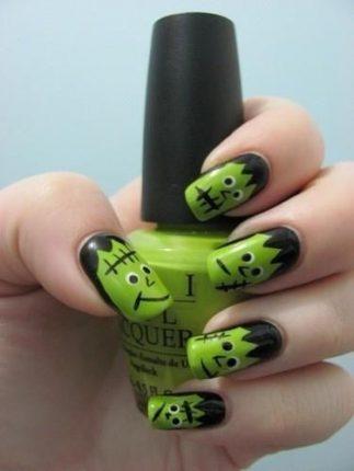 Nail art Frankenstein unghie Halloween