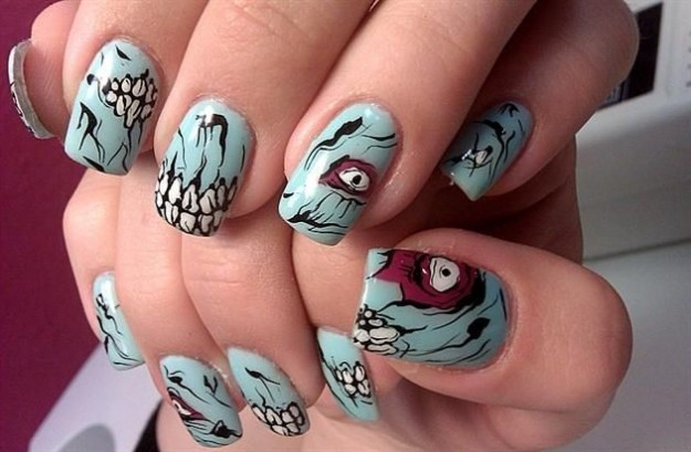 Nail art zombie unghie Halloween