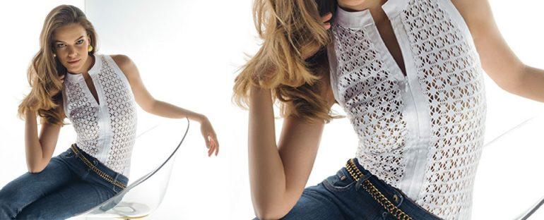 Nara Camicie primavera estate 2014 camicia pizzo con zip donna