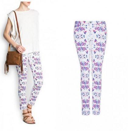 Pantalone bianco con fantasie astratte Mango primavera estate 2013