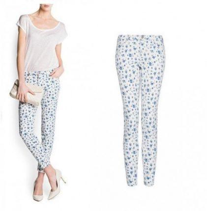 Pantalone con fiorellini azzurri Mango primavera estate 2013