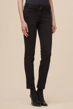 Pantalone in denim black con tasca ricamata Luisa Spagnoli inverno 2017