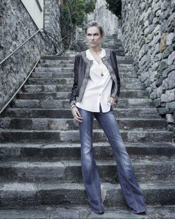 Pantaloni jeans a zampa Carla G autunno inverno 2015