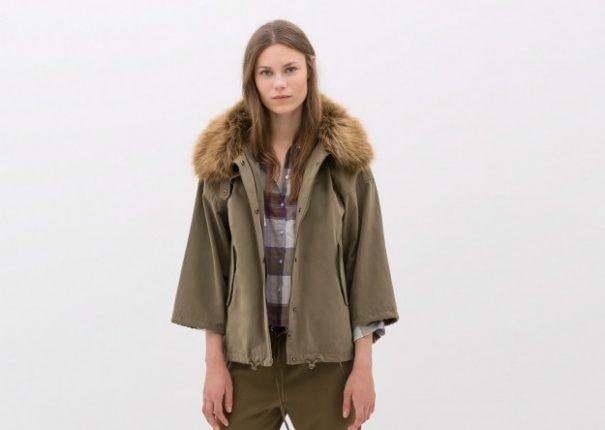 Parka con collo in pelliccia Zara autunno inverno 2014 2015