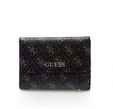 Portafoglio nero logato borsa Guess