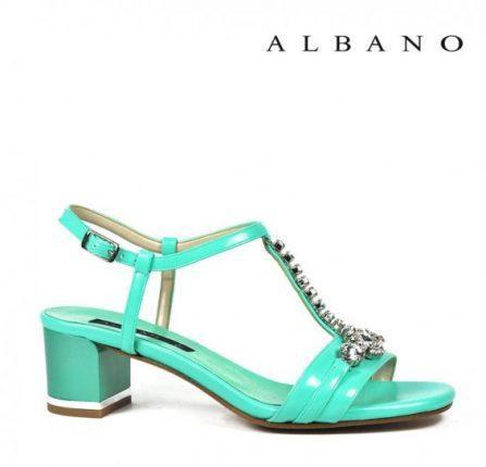 Sandaletto con tacco basso quadrato verde Tiffany Albano primavera estate