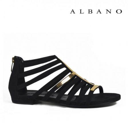 Sandaletto modello gladiatore in oro e nero Albano primavera estate