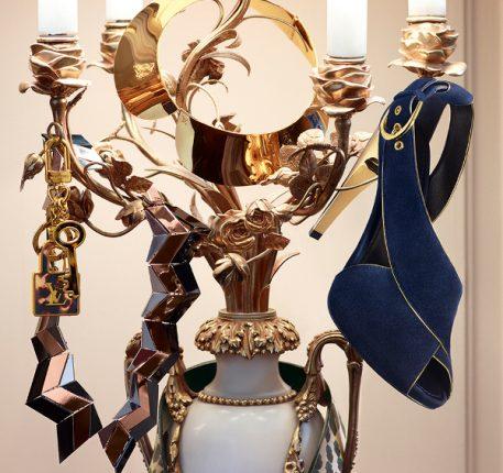 Sandali blu oro Louis Vuitton 2014