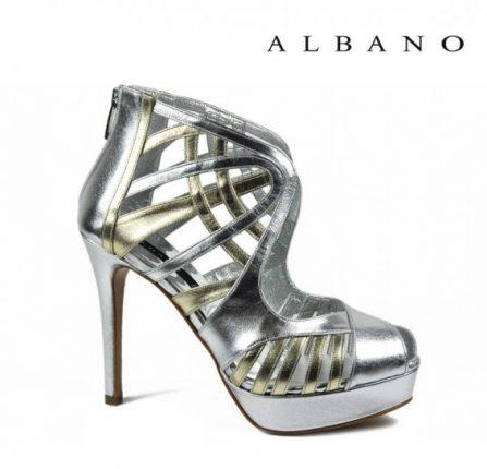 Sandalo alto a gabbia in oro e argento Albano primavera estate