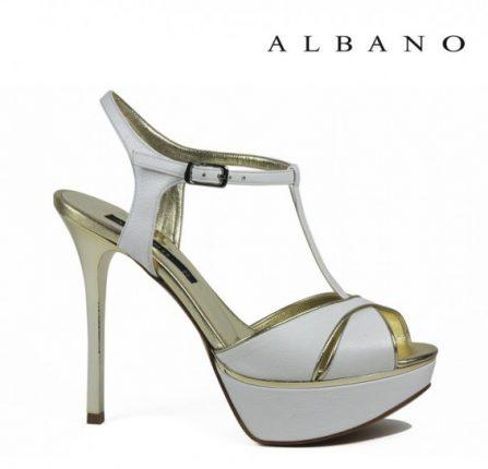 Sandalo bianco Albano primavera estatecon cinturino alla caviglia