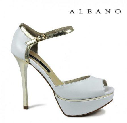 Sandalo bianco con profili in oro Albano primavera estate