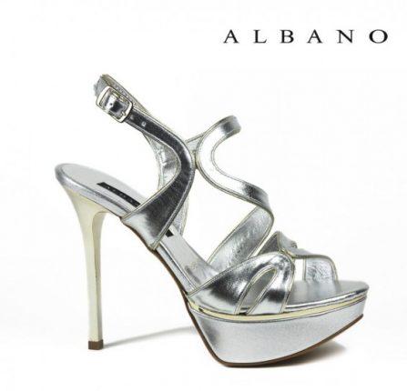 Sandalo con tacco alto argento Albano primavera estate
