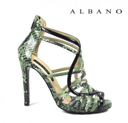 Sandalo con tacco alto verde con stampa rettile Albano primavera estate