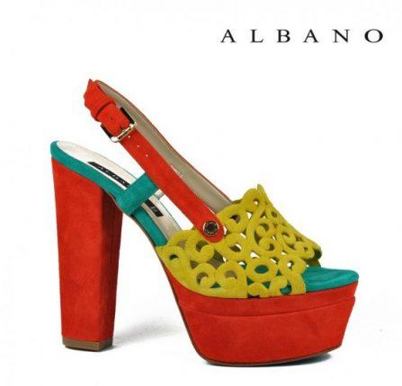Sandalo con tacco spesso in rosso, giallo e verde Albano primavera estate