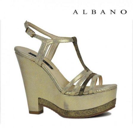 Sandalo con zeppa e plateau color oro Albano primavera estate