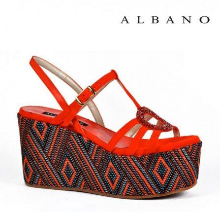 Sandalo con zeppa etnica e maxi plateau orange Albano primavera estate