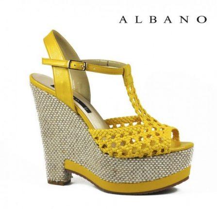 Sandalo giallo Albano primavera estatecon zeppa in corda