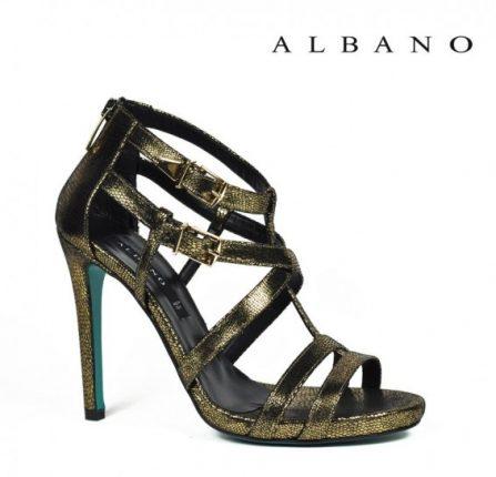 Sandalo metalizzato con tacco alto e fibbie Albano primavera estate