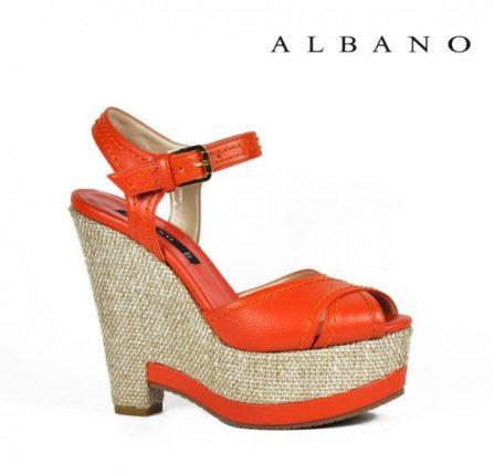 Sandalo orange con zeppa e plateau in corda Albano primavera estate
