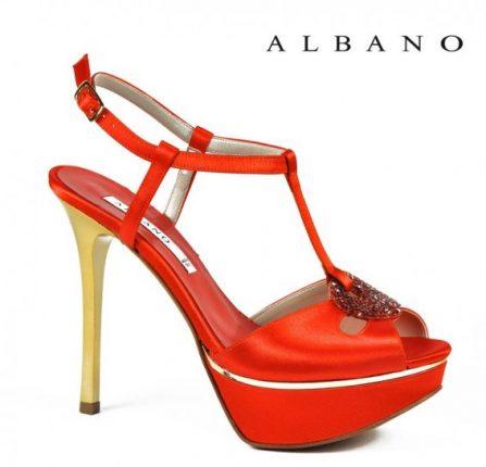Sandalo rosso t-bar con tacco in contrasto Albano primavera estate