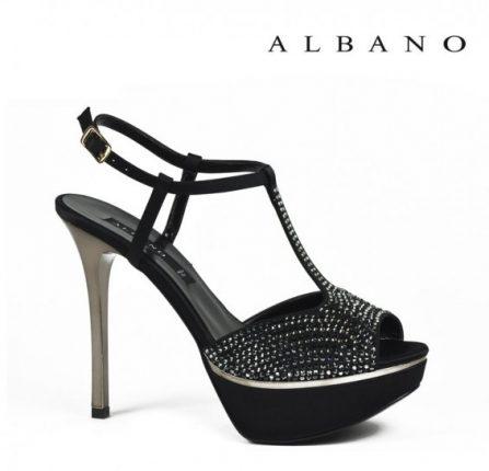 Sandalo tacco alto e plateau nero con strass Albano primavera estate