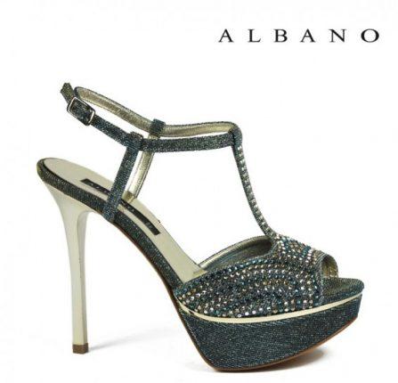Sandalo tessuto simil denim con strass Albano primavera estate